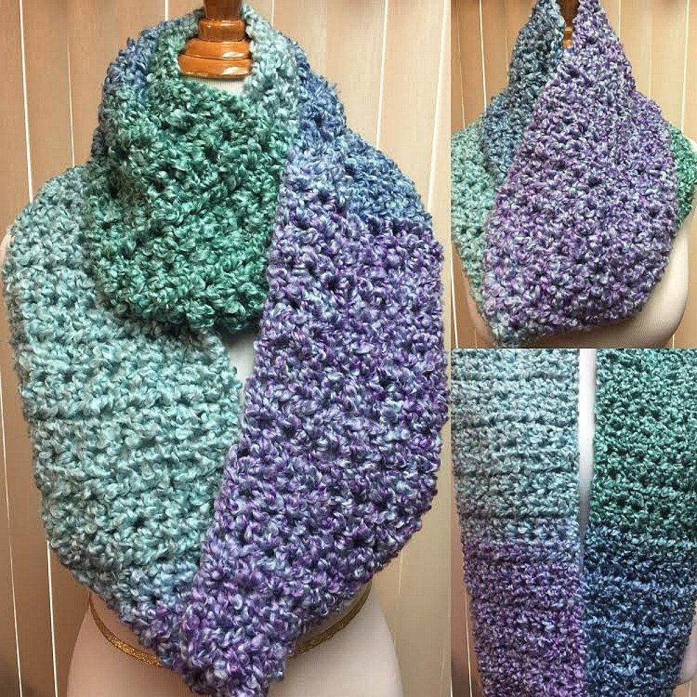 Blue Scarf, Crochet Scarf, Blue and Green Scarf, Chunky Scarf ...