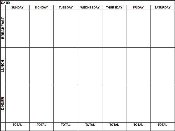 Blank Weekly Menu To Print And Fill In  Low Carb Recipes