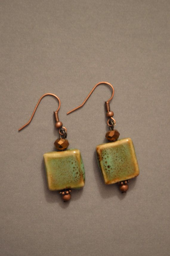 Turquoise and copper earrings by Kelly on Etsy. Search kellyscharm