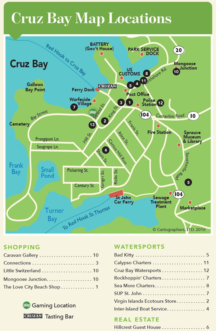 road map of downtown cruz bay st john