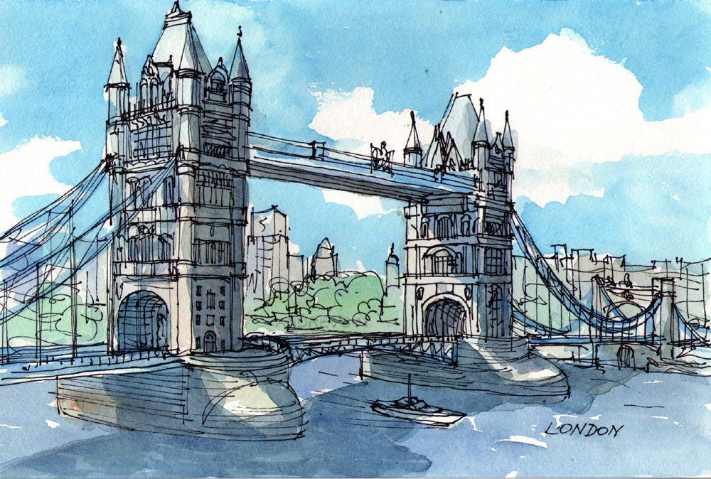 London Tower Bridge Original Watercolor 12 X 8 58 00 Via