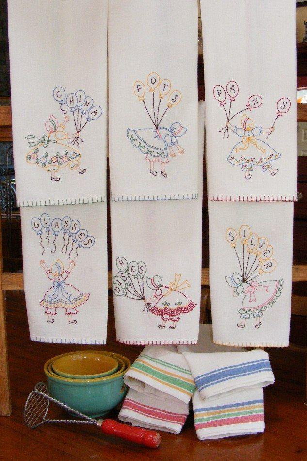 Kitchen Helpers Tea Towels - Six colorful embroidered little ladies with a very vintage look adapted from a set of old tea towels found at an antique store. $10.00