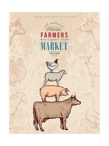 Art Print Farm Shop Vintage Poster Retro Butcher Shop Farm Animals Livestock Farming Poster Hand Drawn Ink Ve By Int Retro Poster Vintage Posters Butcher Shop