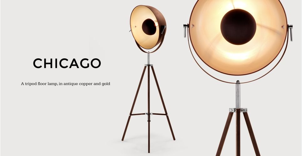 Chicago Floor Lamp In Antique Copper And Gold Made Com