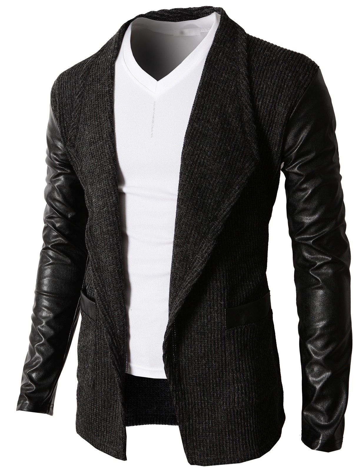 Doublju Men's Cardigan Sweater With Synthetic Leather Long Sleeves ...