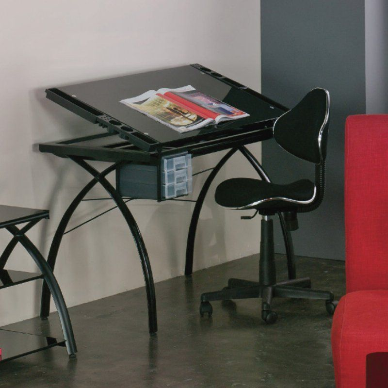 Studio Designs Futura Drafting Table with Glass Top and Chair - MEI374 - Studio Designs Futura Drafting Table With Glass Top And Chair