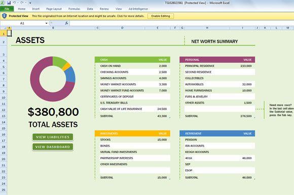 assets free excel templates pinterest net worth