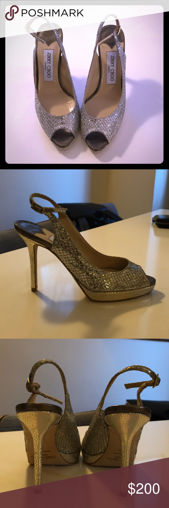 NWT Jimmy Choo Silver Slingbacks Beautiful Jimmy Choo silver slingbacks - with tags, dustbag, and box. Never worn outdoors (only inside to try on). Perfect for party, evening or bridal. Willing to negotiate price! Jimmy Choo Shoes Heels