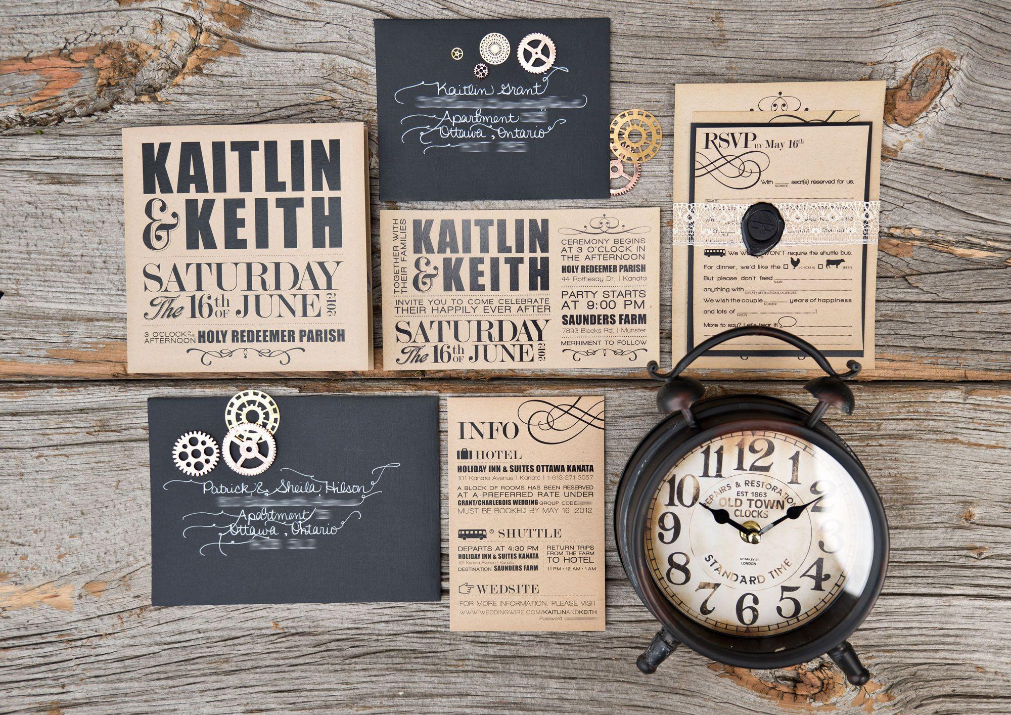 WishtreeInvites Steampunk | Funky | Bold | Kraft Paper | Typography ...