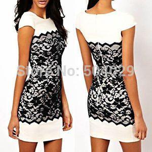 05d673ef2c Turmec » white short sleeve contrast lace bodycon dress