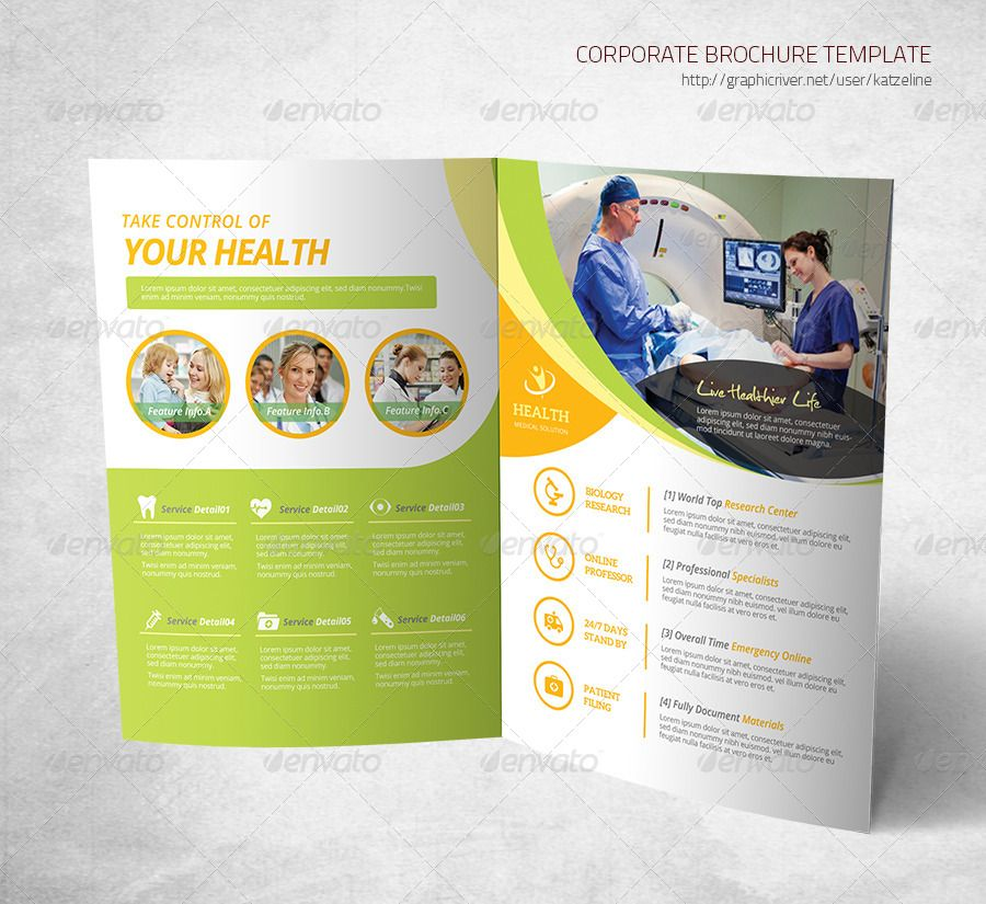 Health Medical Care Bifold Brochure Template (With