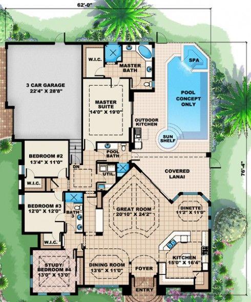 Plano de casa de lujo de una planta 490 589 for Plano alberca