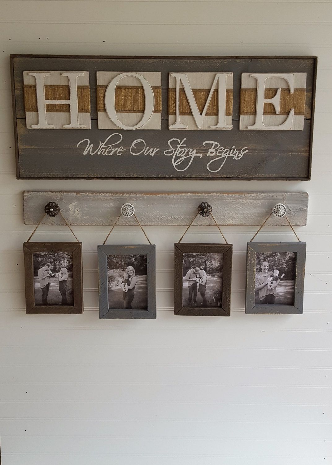 Rustic picture display with frames, Shabby chic photo hanger ...