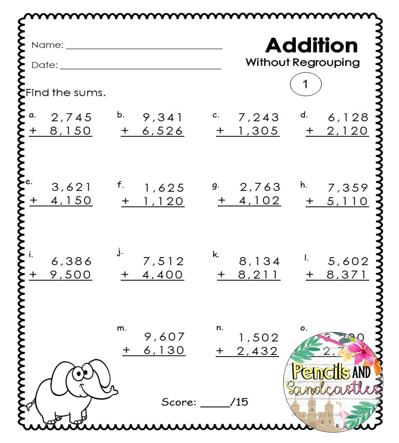 small resolution of 4-Digit Addition Regrouping and No Regrouping Worksheets   Addition  worksheets
