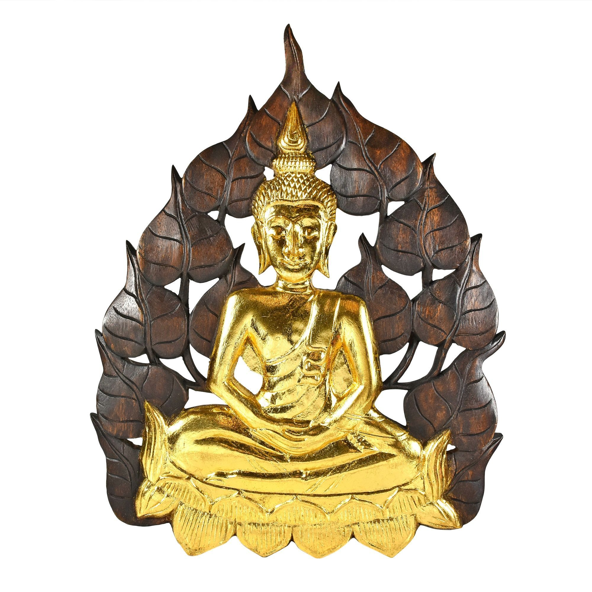 Aeravida Enlightened Golden Buddha Bodhi Tree Leaf Wall Art ...