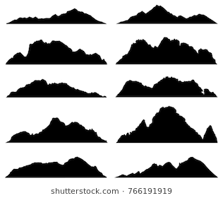 Wide Semi Detailed Panoramic Silhouettes Of Highlands Mountains And Rocky Landscapes Vector Illu Mountain Silhouette Silhouette Images Landscape Illustration