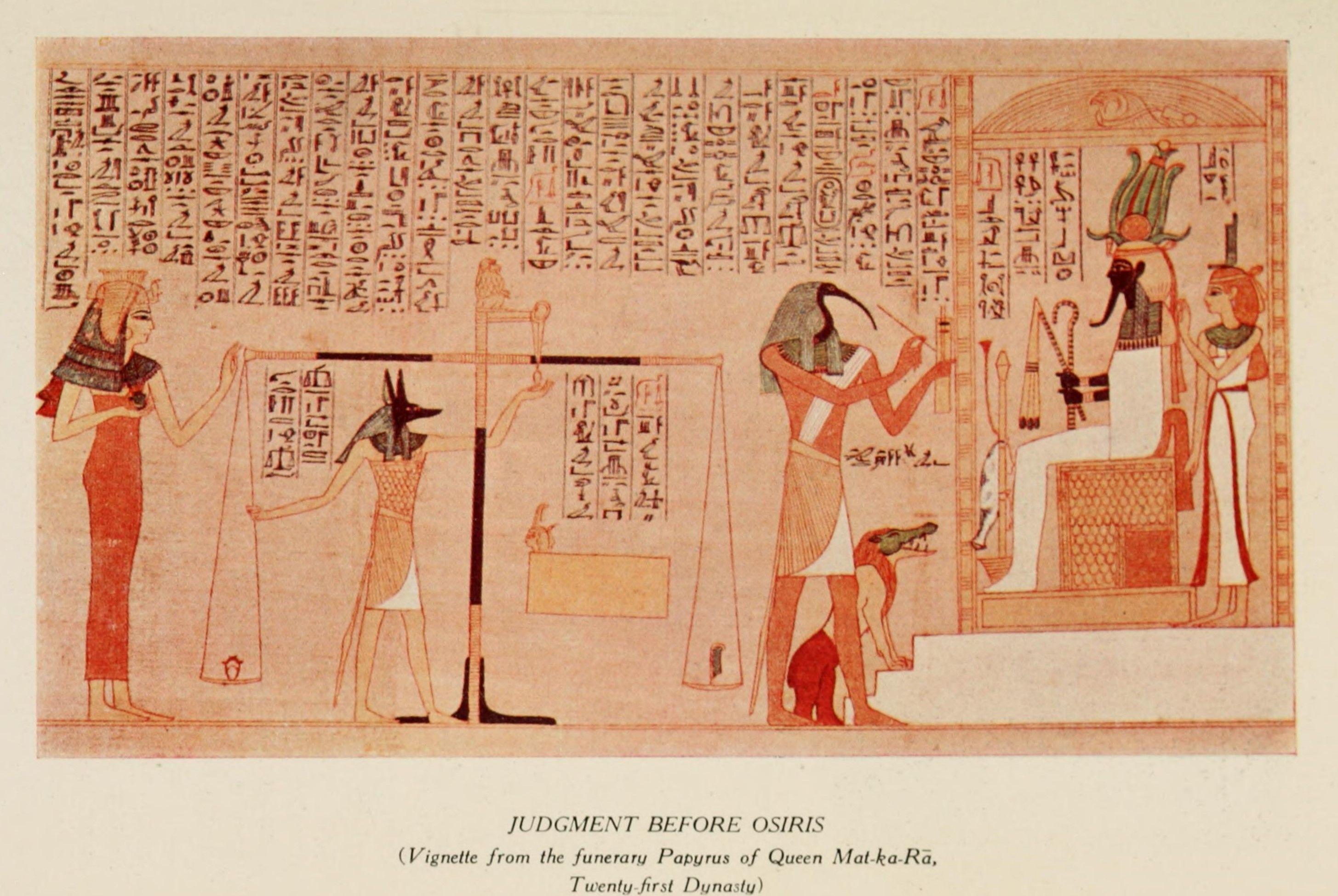 Ancient - Art in Egypt 1912, Judgement before Osiris. #egypt  Judgement Before Osiris