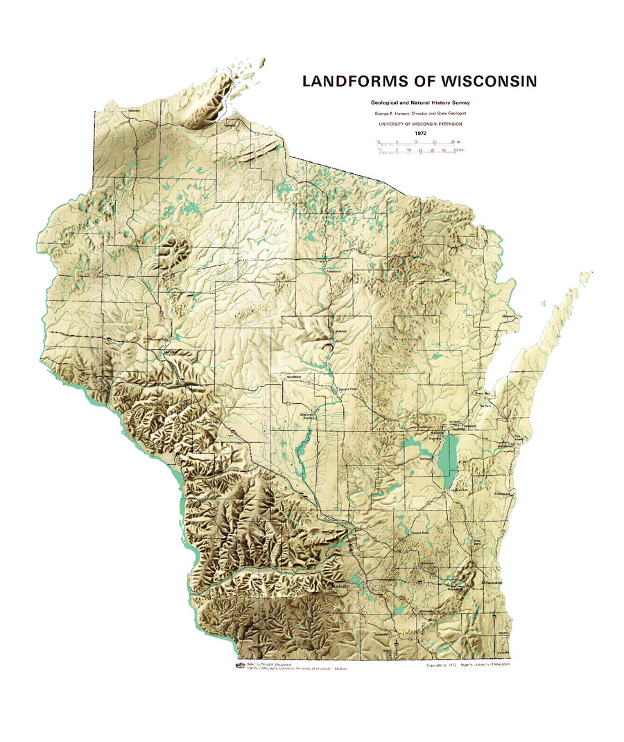 Map Of Wisconsin Landforms With County Lines Geology Map