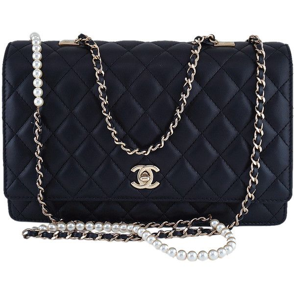 Pre Owned Chanel Black Limited Fantasy Pearls Classic Flap Evening Bag 4 399 Liked On Polyvore Featuring Chanel Handbags Evening Handbag Long Strap Purse