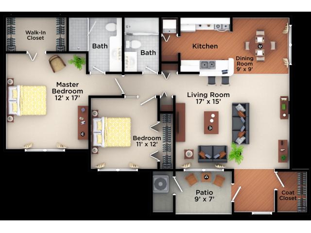 1 2 Bedroom Apartment Floor Plans At Village Green On Franklin Apartment Floor Plans 2 Bedroom Apartment Floor Plan Small House Plans