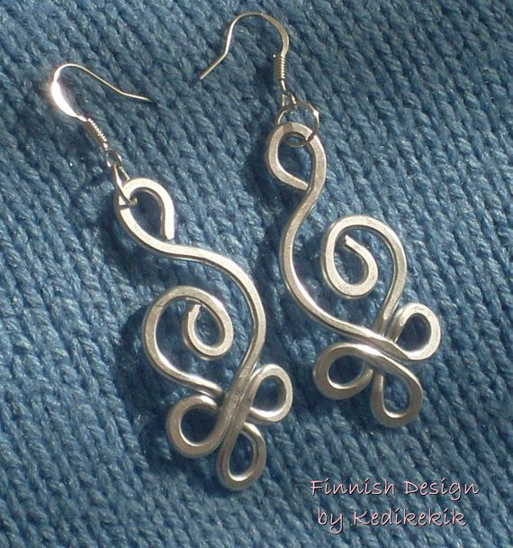 HAMMERED CELTIC SWAN Earrings with Silver Aluminum Wire and Silver ...