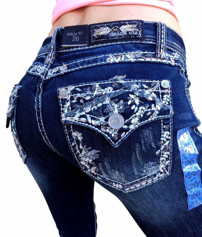 Grace In LA Jeans Low Rise Embellished Bootcut Stretch Jean 25 26 27 28 29 30 31