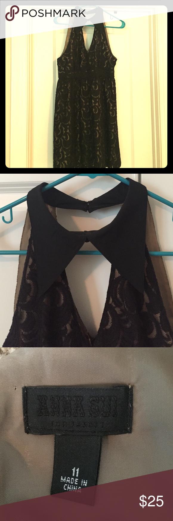 Anna Sui for Target black, lace dress Fun,  black lace dress with collar. Anna Sui Dresses