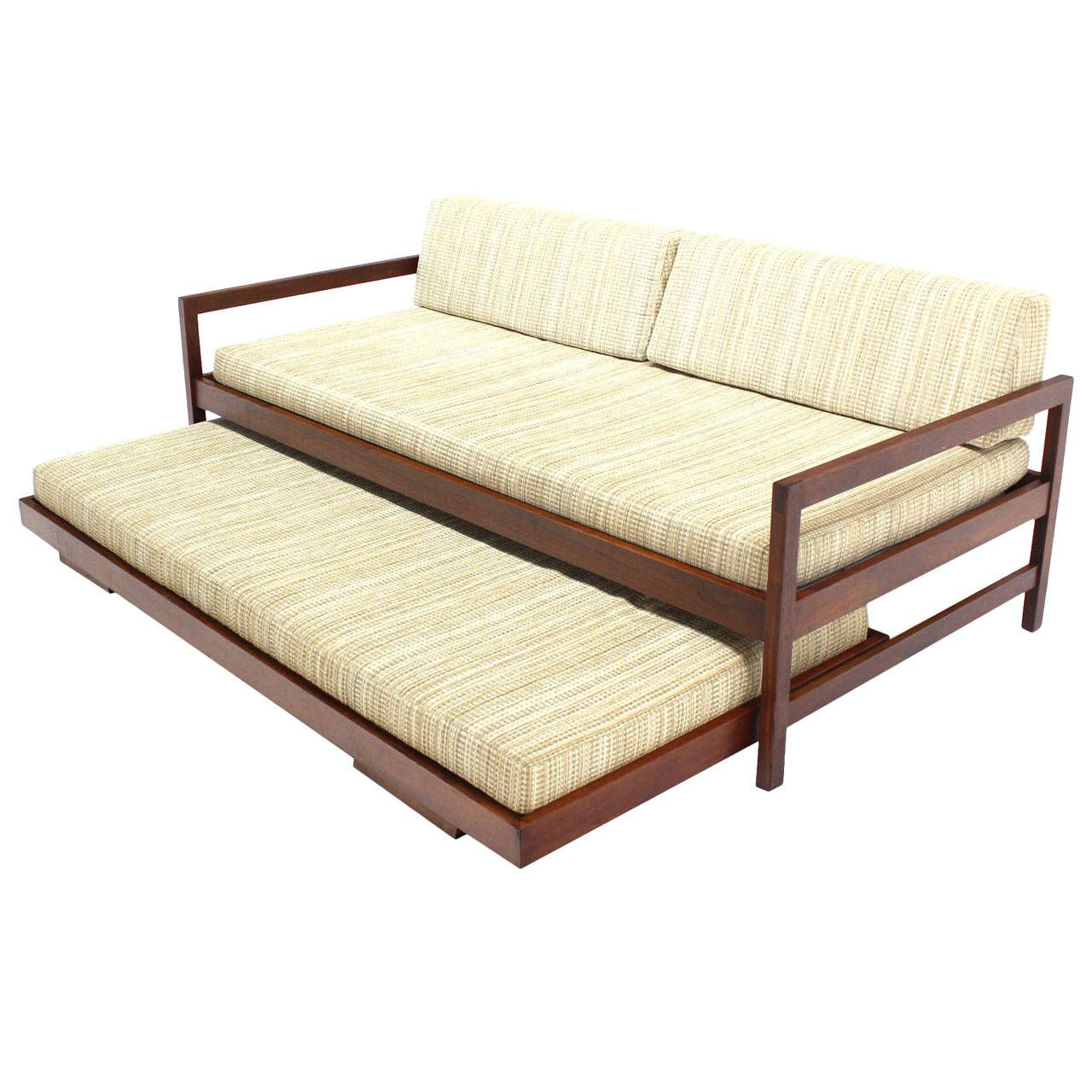 Solid Walnut Frame Mid Century Modern Trundle Pull Out Bed Daybed Sofa