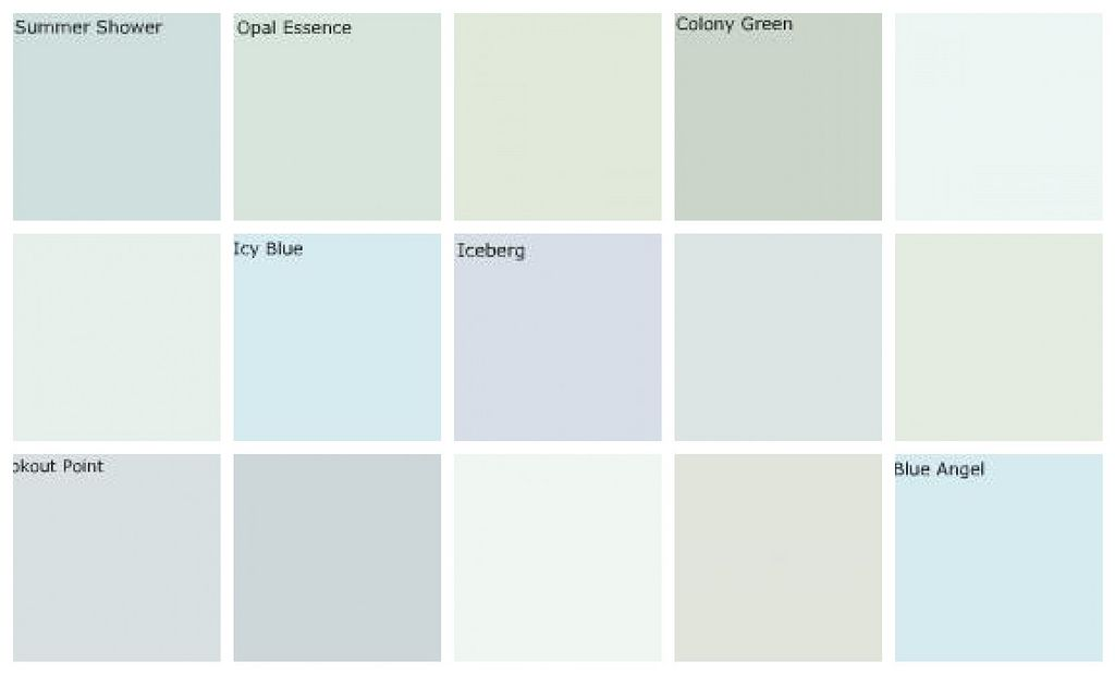 Light Blue Green Paint Colors Designers Favorites Top Row Left To Right Benjamin Moore Summer Shower Opal Essence Porter Paints Parsley