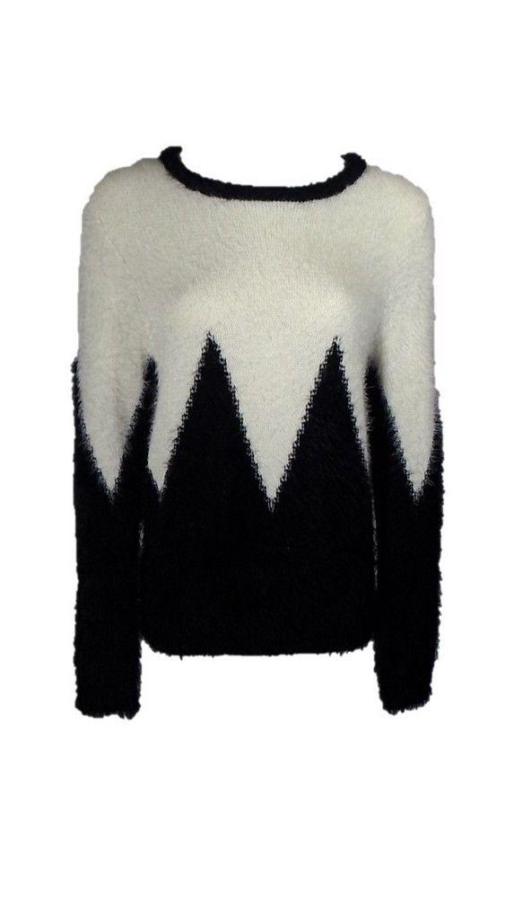 Say What? Black and Beige ZigZag Eyelash Print Sweater