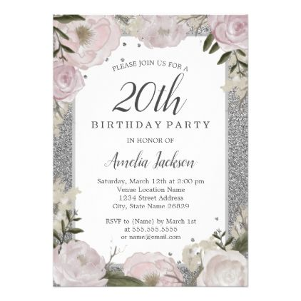 sparkle pink silver floral 20th birthday invitation birthday
