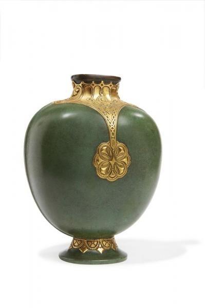 Maison Christofle Vase En Bronze Patine Verte Dcor Cisel En