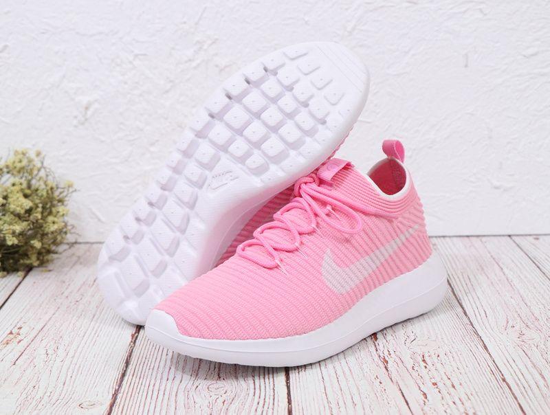 78e497c02b371 Genuine Women Nike Roshe Two Flyknit V2 Sneakers Peach Beige White ...