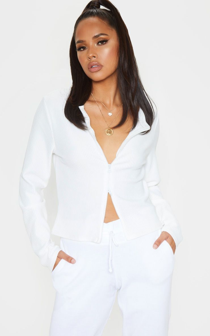 White Jumbo Rib Double Zip Top in 2020 | Top outfits