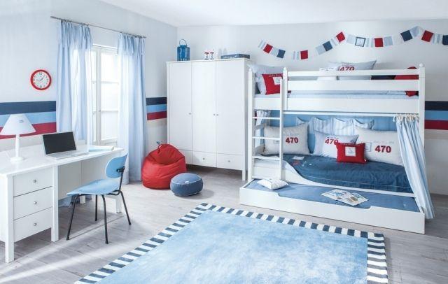 Jungenzimmer für geschwister-nautisch-inspiriert-hochbett mit ... | {Jungenzimmer ideen 20}