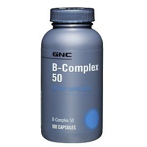 GNC B-Complex 50, Capsules, 100 ea by GNC. $8.90. B-Complex 50 Dietary Supplement 100 Capsules Potencies verified by GNP procedures #5103 and #5118.. Conforms to USP <2091> for weight. Meets USP <2040> disintegration. No Sugar, No Starch, No Artificial Colors, No Artificial Flavors, Sodium Free, No Wheat, No Gluten, No Corn, No Dairy. For more information: ;