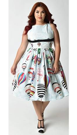494e23f013a Unique Vintage Plus Size Light Blue Hot Air Balloon Festival Dolly Swing  Dress