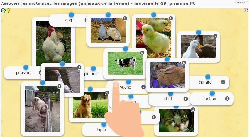 Associer des mots avec des images (animaux de la ferme