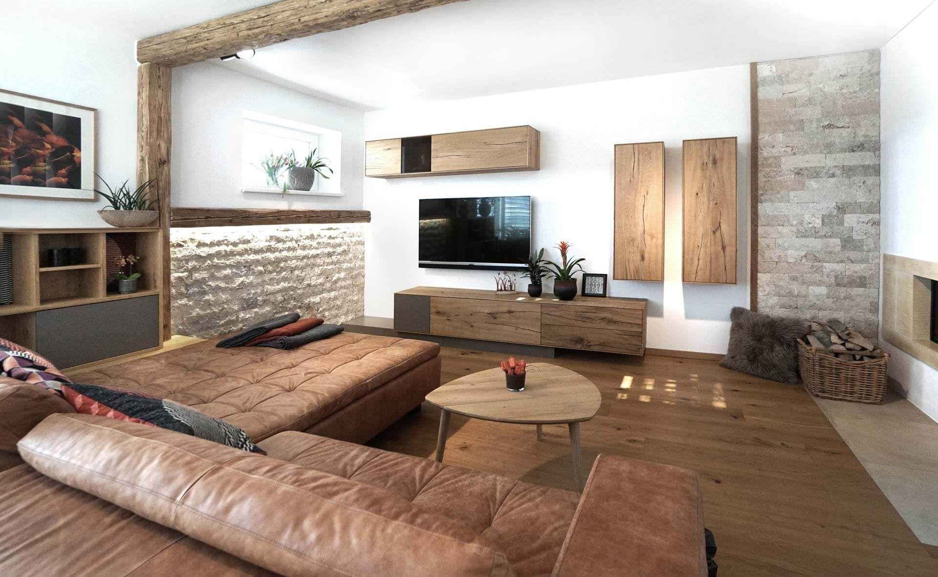 Wohnzimmer, Modern, gemütlich, Altholz, Eiche, Leder, Stein