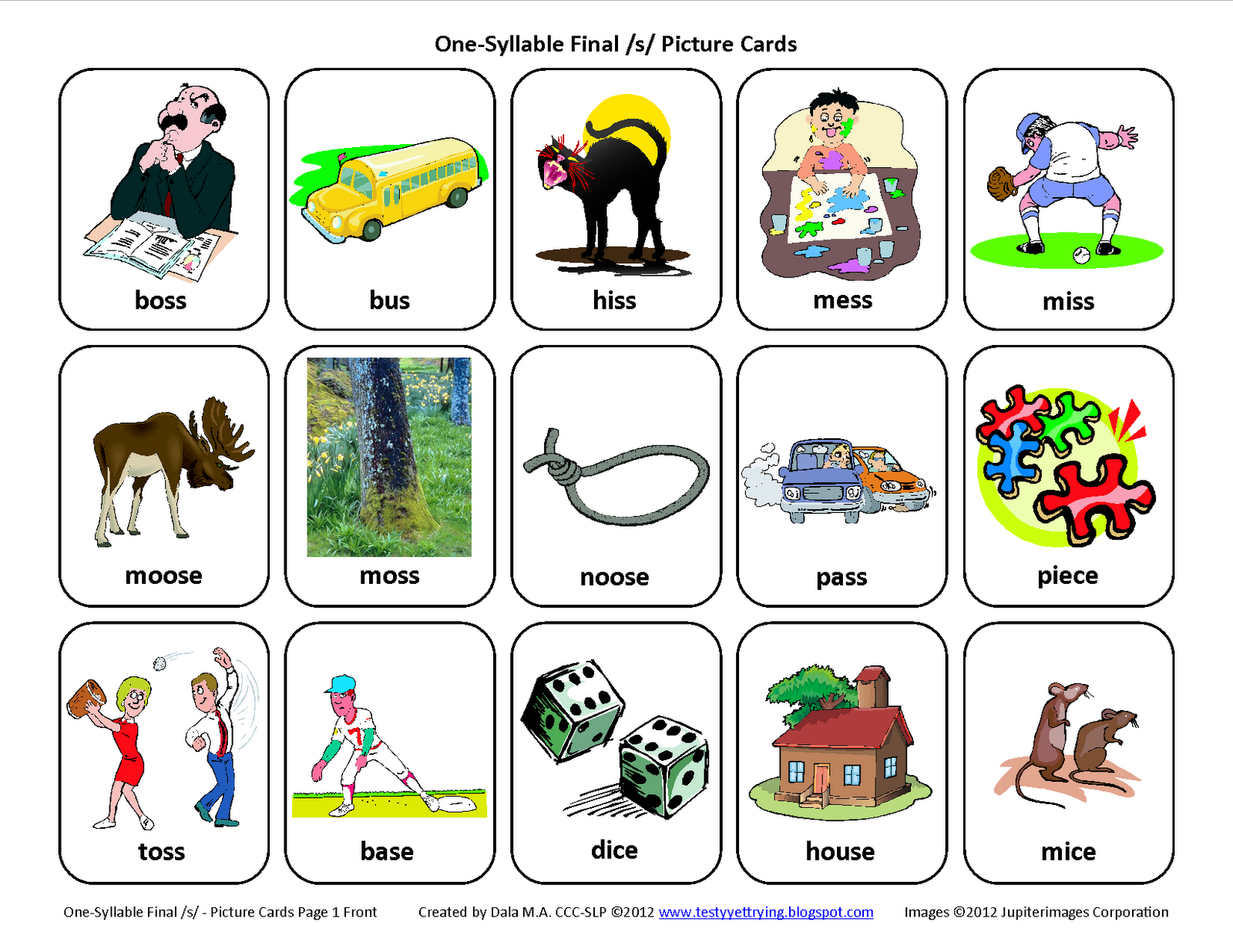 Final S Free Speech Therapy Articulation Picture Cards