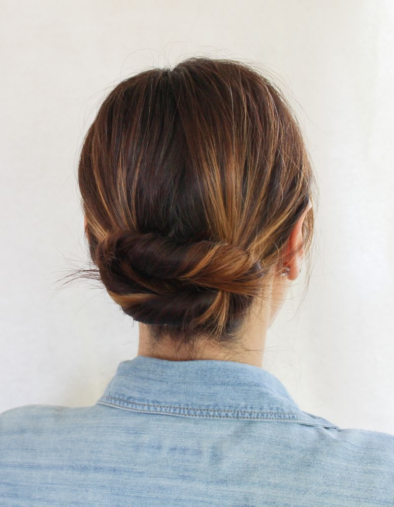 how to create a big, full bun with mid-length hair.   hair
