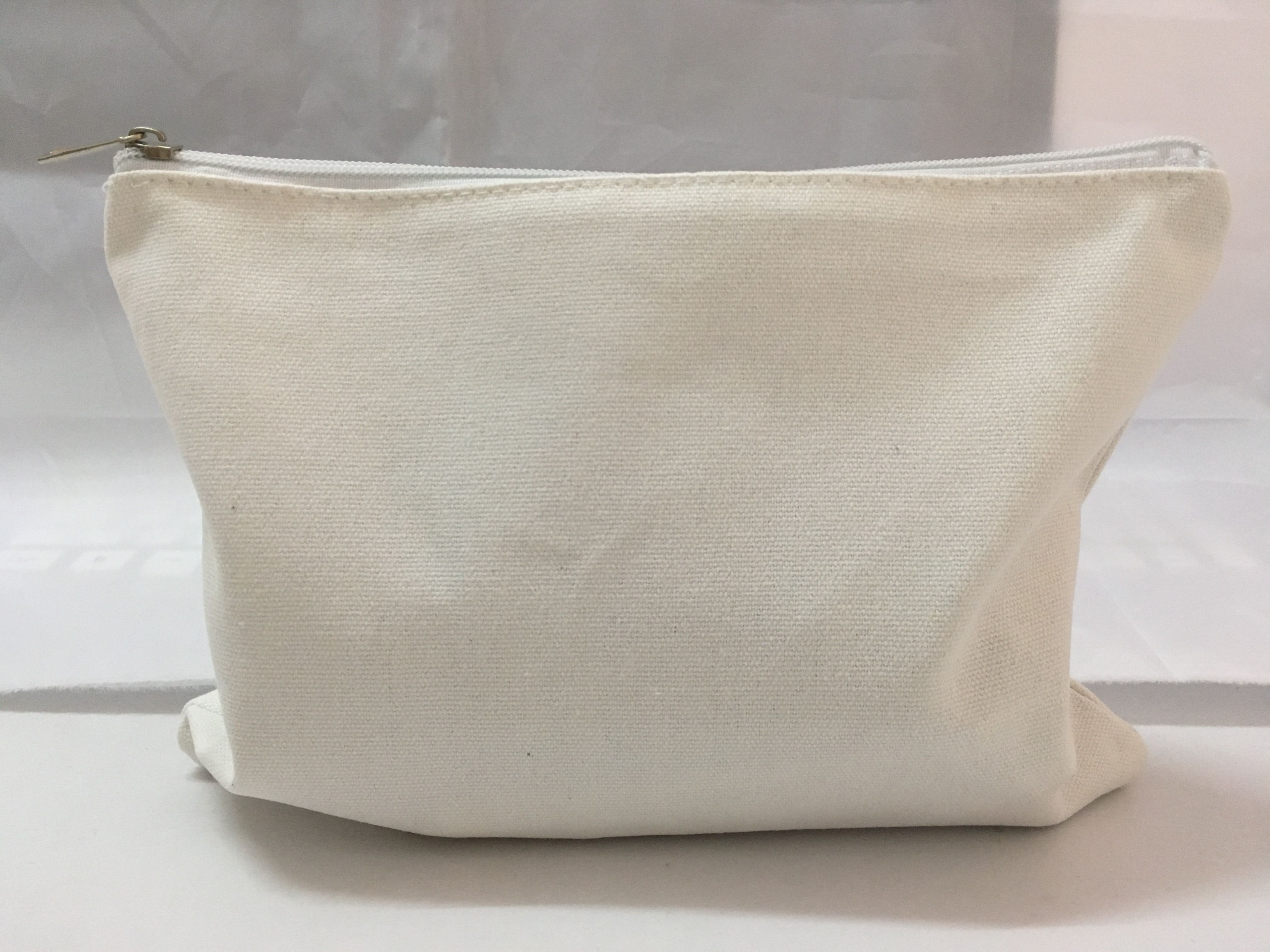 White color 12oz blank canvas cosmetic bag 26x19cm/10x7