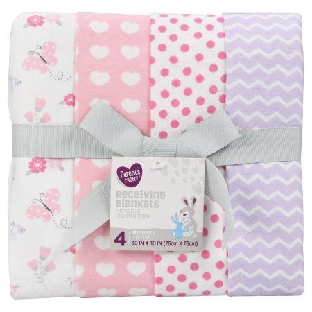 Walmart Swaddle Blankets Parent's Choice Receiving Blankets Pink 4 Pack  Pinterest  Baby