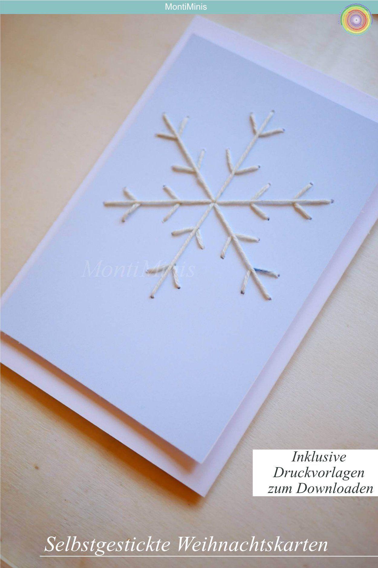 Sticken mit Kindern: Weihnachtskarten (inkl.Druckvorlage) - Montessori Blog & Shop - MontiMinis