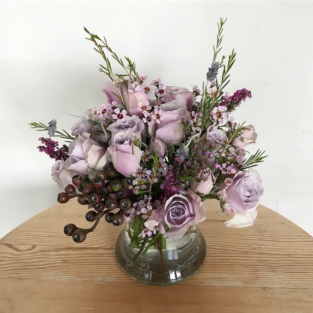 Flower arrangement with purple spray roses heather eucalyptus flower arrangement with purple spray roses heather eucalyptus dried lavender izmirmasajfo