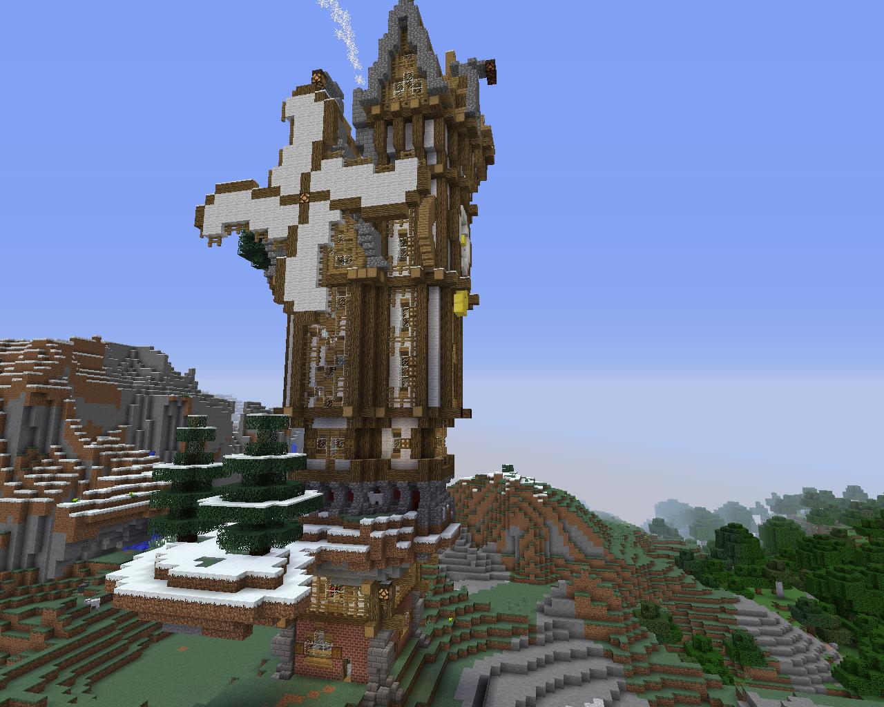 Grande Maison Steampunk Avec Un Moulin Et Une Horloge