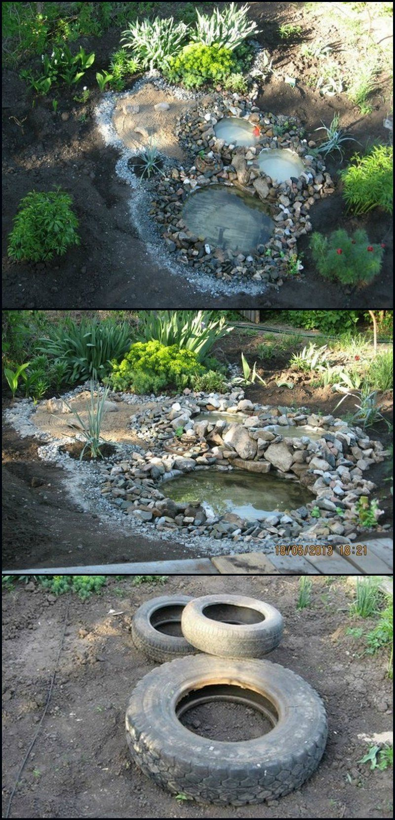 How to build a pond from recycled tires http for Building a fountain pond