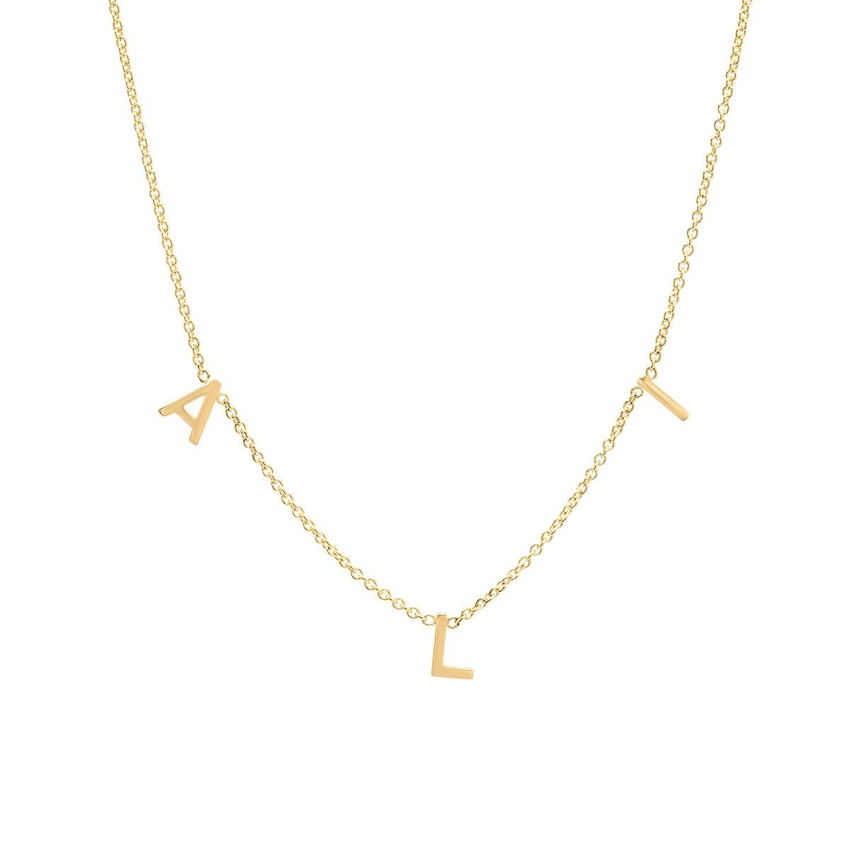 Spaced Letter Necklace for Kids - 14k Yellow Gold