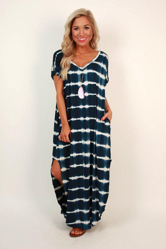 ba4a788d5d Beachy Keen Stripe Tie Dye T-shirt Maxi in Navy | Sweet Summer Time ...