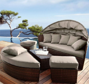 venus round garden sofa daybed circular design with folding canopy - Garden Furniture Day Bed